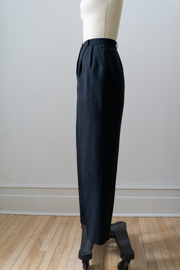 Charcoal Alpaca & Wool Floor Length Fitted Coat S