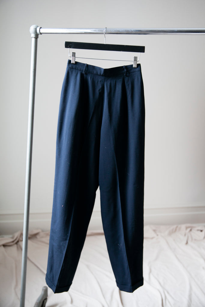 "Navy Wool Pleated Trousers M 28""w"