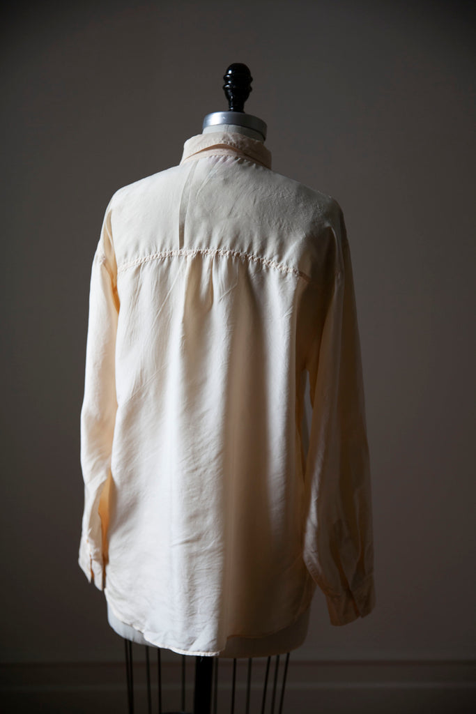 Ivory Silk Oversized Shirt with Chest Pockets L