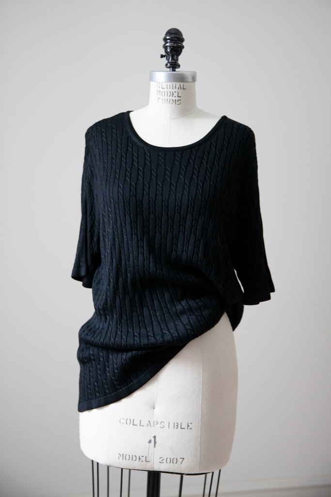 Black Silk Cable Knit Tee XL