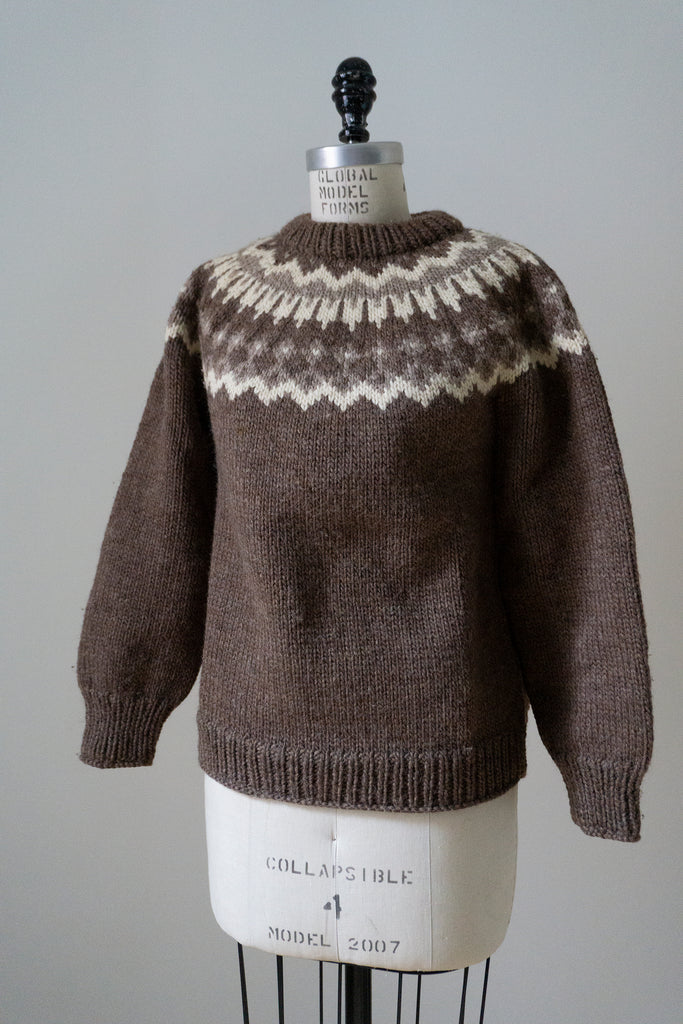 Child's Hand Knit Blue Lopi Sweater