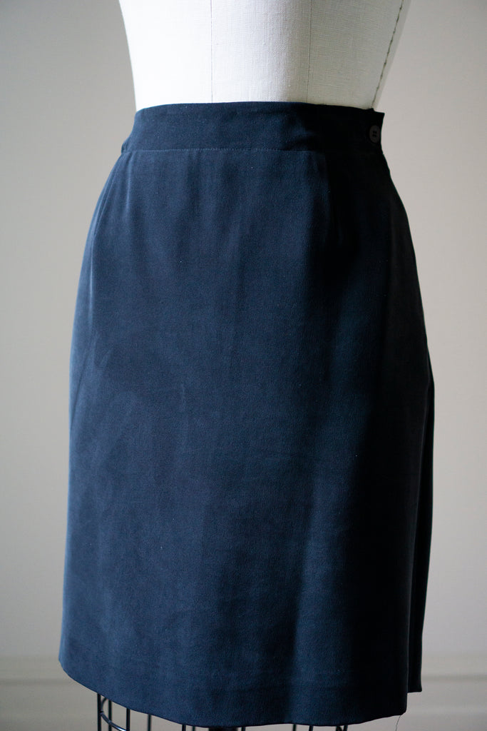 "Navy Silk Wrap Mini Skirt M 28""w"