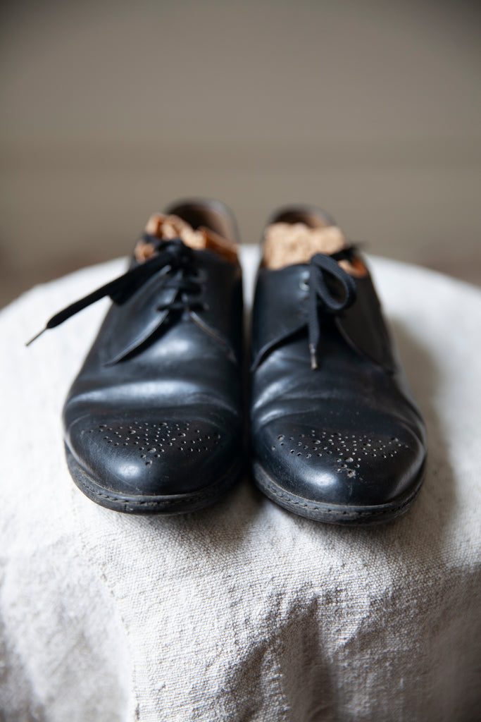 Black Leather Pointed Oxford Shoes US 7.5