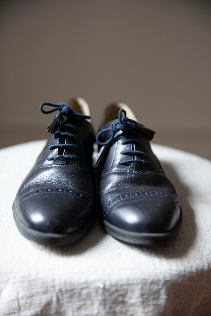 Toffee Leather Flat Oxford Shoes US 7.5 (eu38)