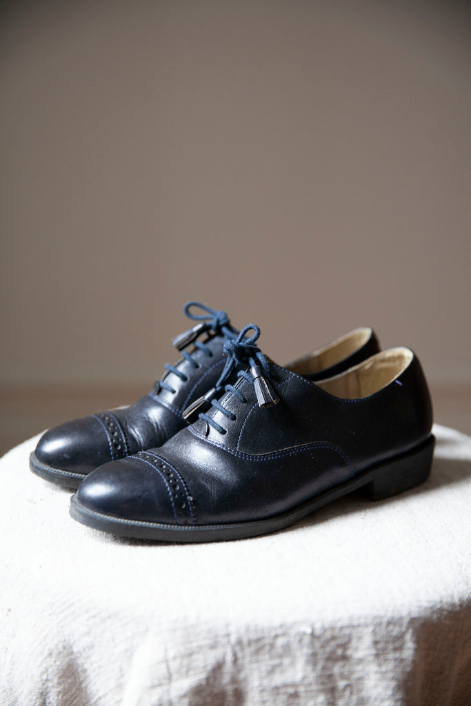 Esprit Navy Leather Oxford Shoes US 6