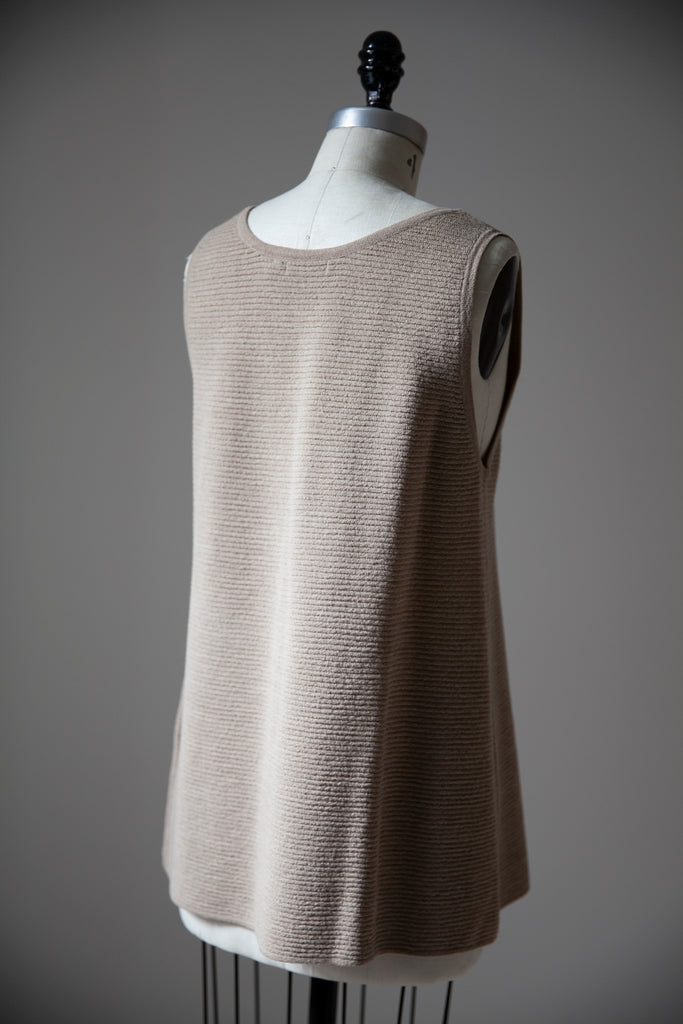 Ecru Wool Blend Ribbed Long Tank L