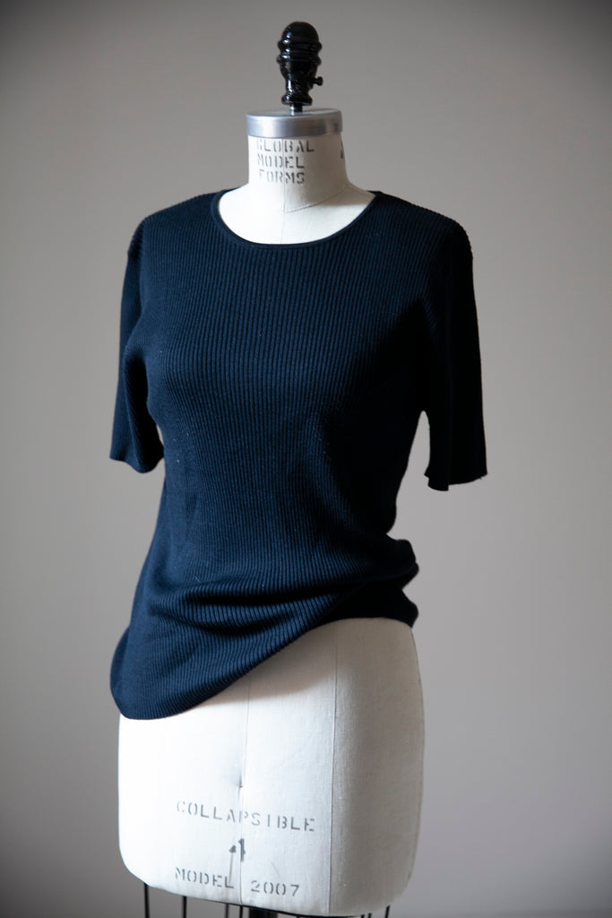 Black Silk rib Knit Tee M