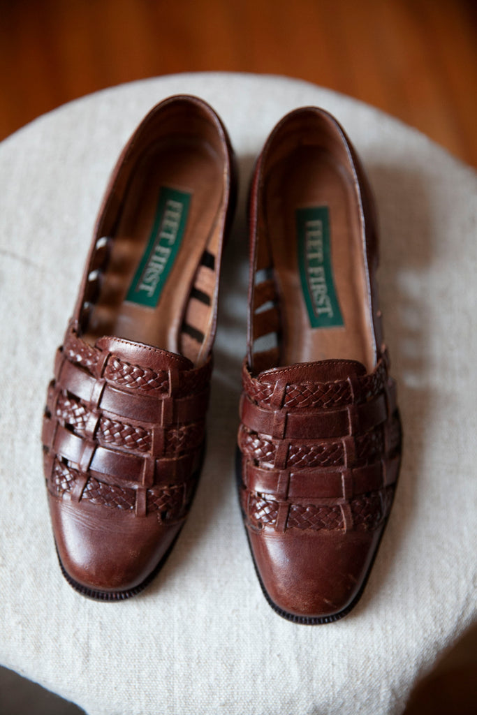 Brown Leather Braided Flats US 6.5