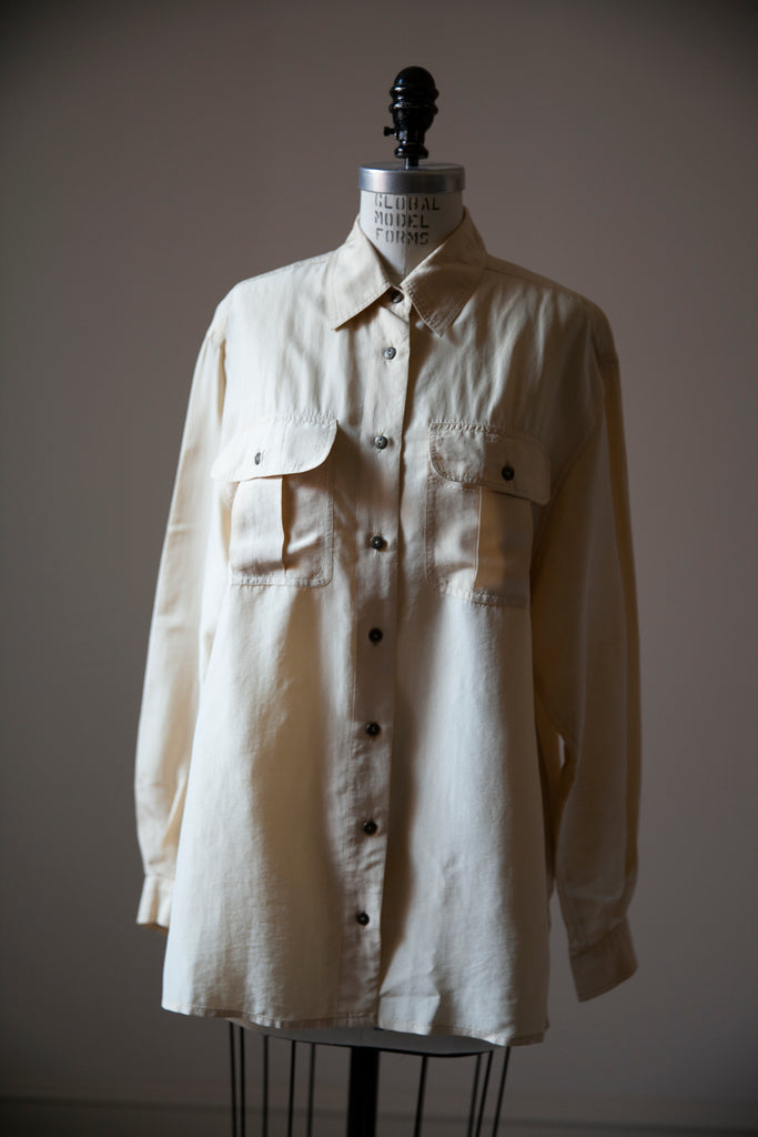 Cream Silk Oversized Shirt