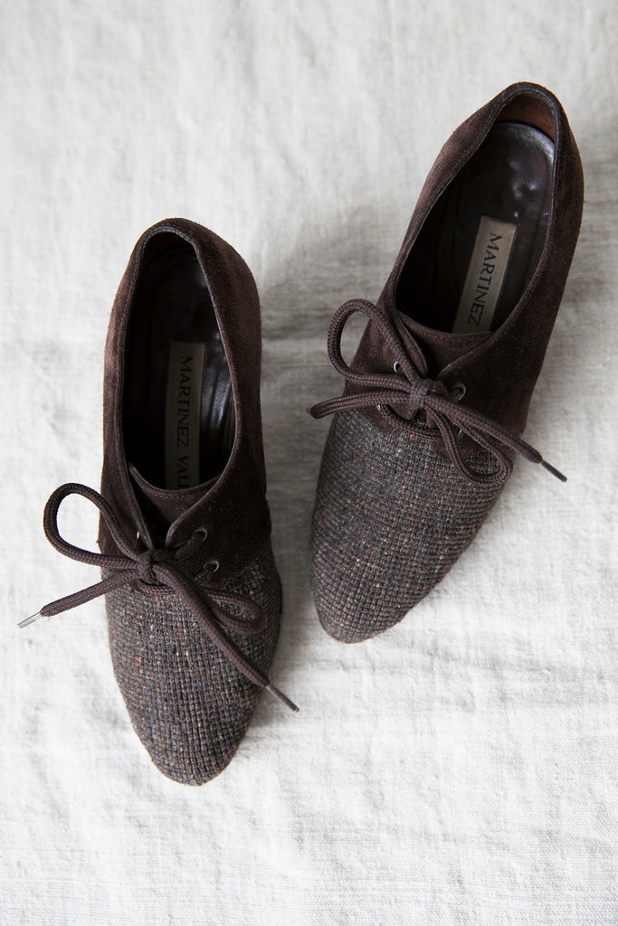 Wool Tweed and Suede Edwardian Inspired Shoes US 6.5