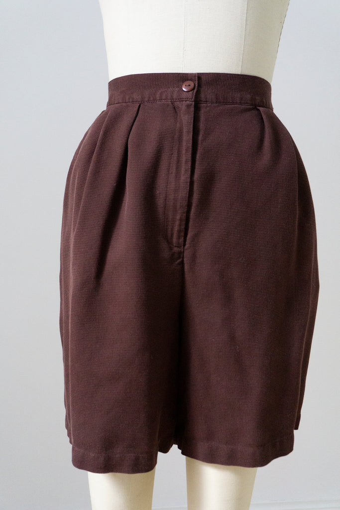 "Olive Linen Pleated High Waist Shorts M 28""w"