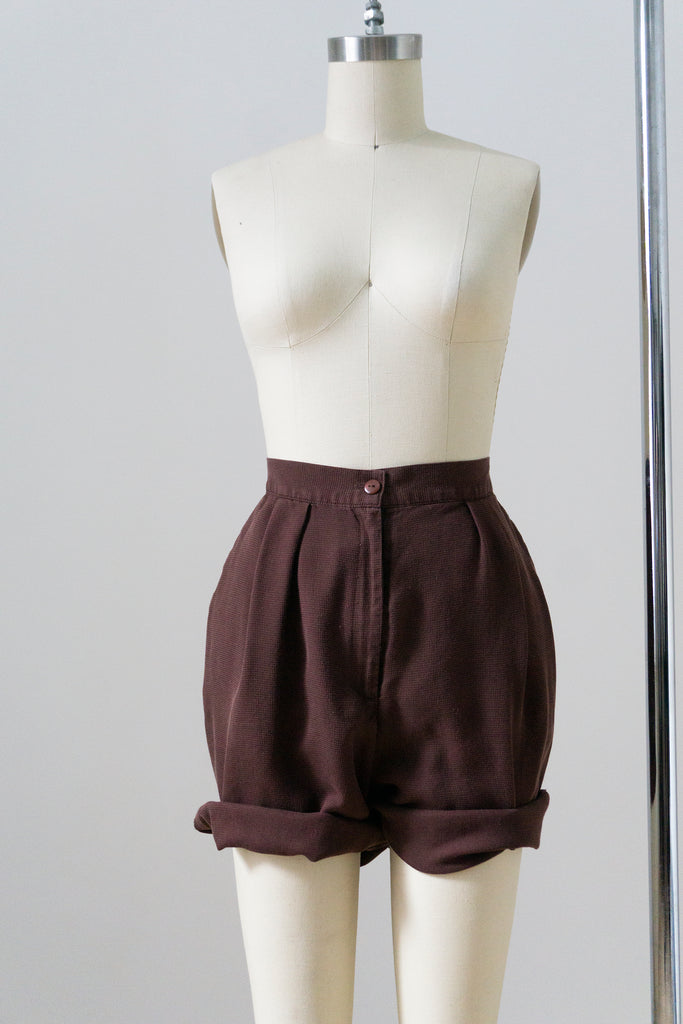 "Caramel Wool Pleated Shorts M 29""w"