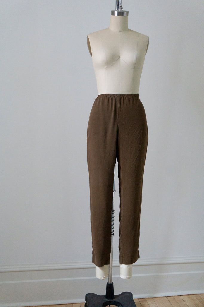 Black and Dark Red Leaf Print Silk Maxi Skirt XL-XXL