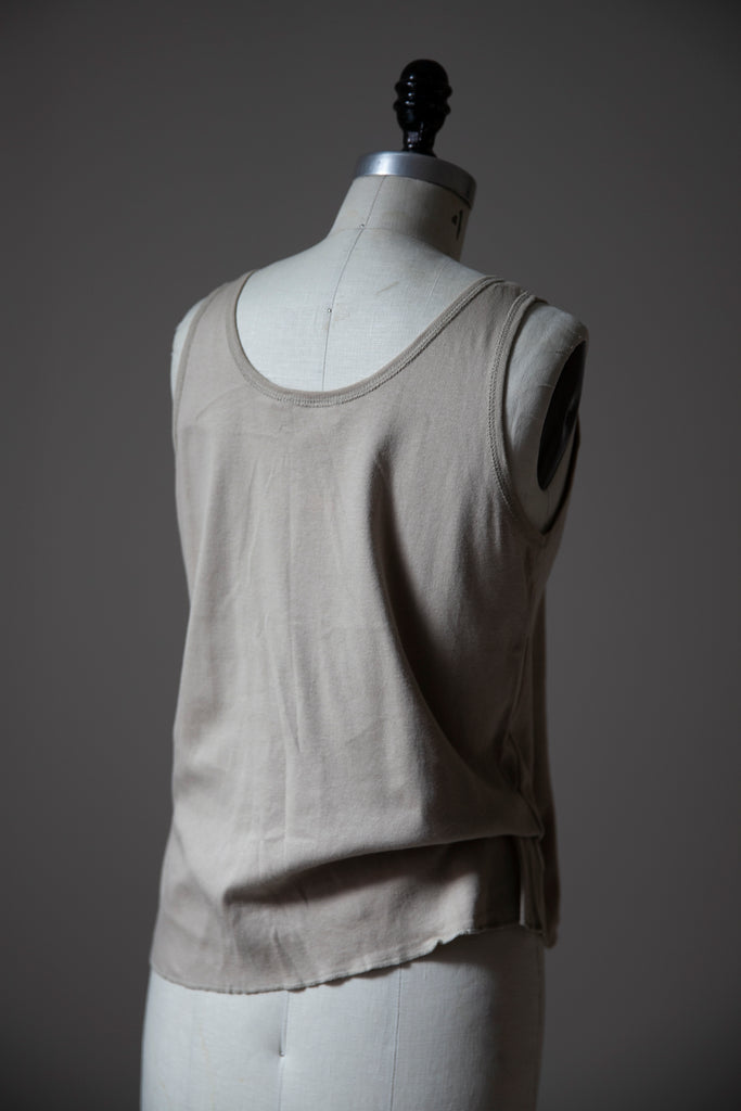 Putty Cotton Tank with Snaps down Front M-L