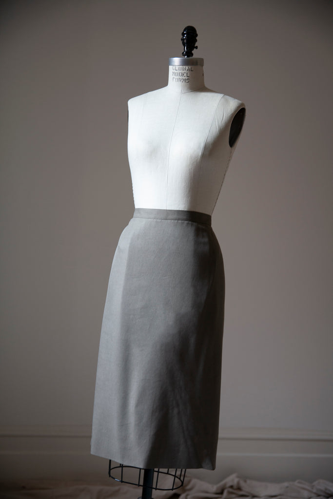 "Taupe Silk Skirt XL 34""w"