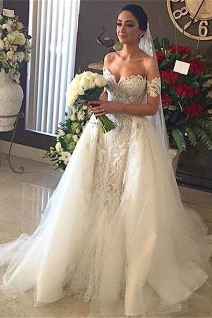 Sweetheart Mermaid Off the Shoulder Appliques Wedding Dress with Beading W483