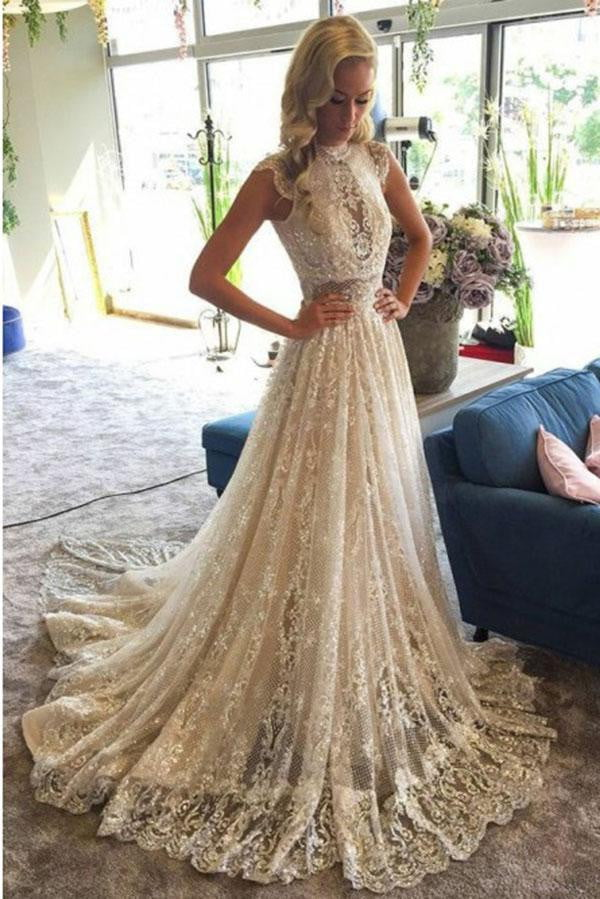 Stunning Appliques High Neck Lace Wedding Dress with Sequins W493