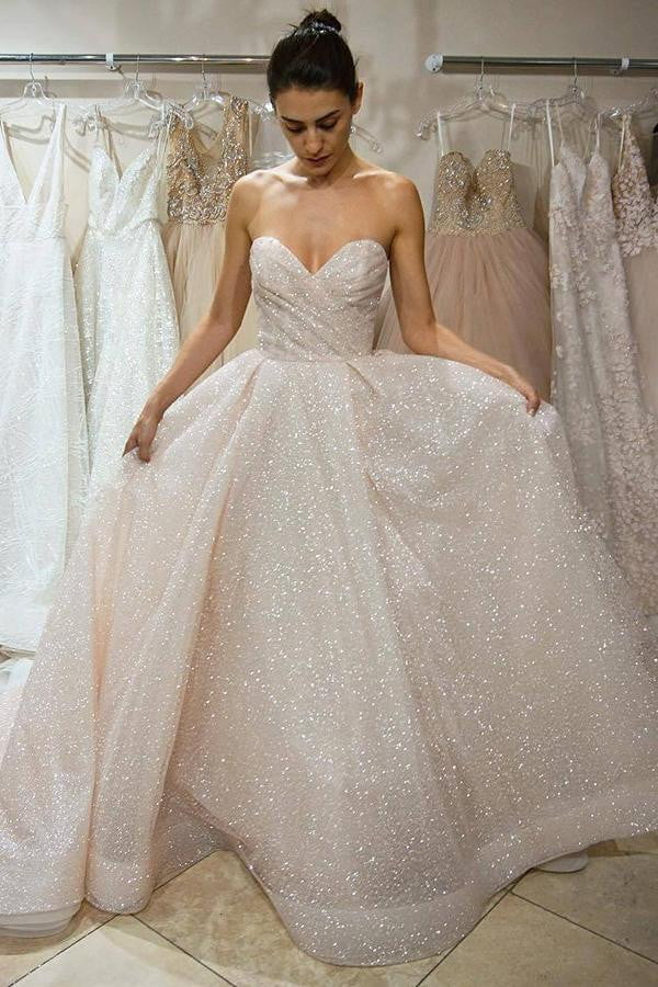 Stunning Sweetheart Strapless Tulle A Line With Sequins Wedding Dress W407