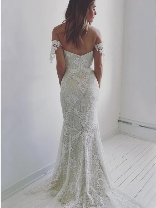 Sweetheart Off Shoulder Lace Wedding Dress Mermaid Bridal Dress W519