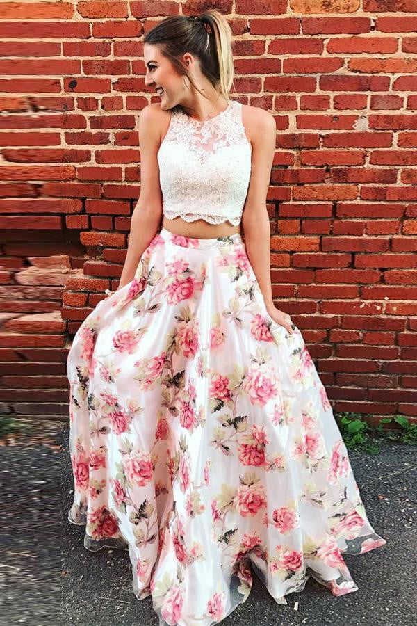 Two Piece A Line Floor Length Strapless Sleeveless Lace Prom Dress,Party Dress P425