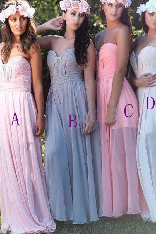 Simple Sweetheart Sleeveless Chiffon Bridesmaid Dresses Long Prom Dresses
