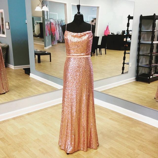 Simple Spaghetti Straps Sleeveless Sequin Bridesmaid Long Prom Dresses