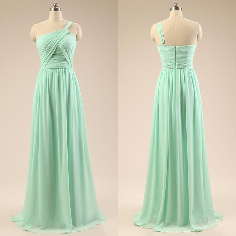 Tiffany Blue One Shoulder Chiffon Bridesmaid Dresses Long Prom Dresses With Ruched