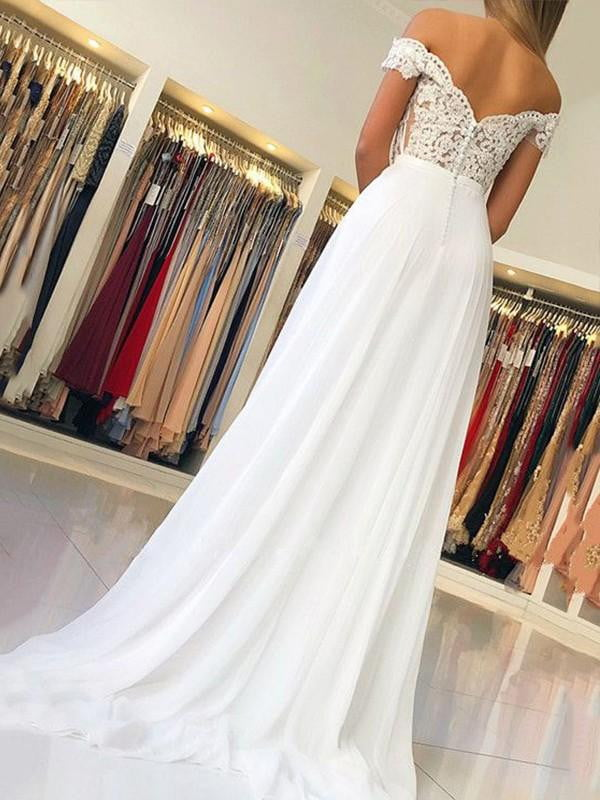 Exquisite Ivory Lace Appliques sweetheart Sheath Chiffon Off-the-shoulder A line long formal prom Dresses