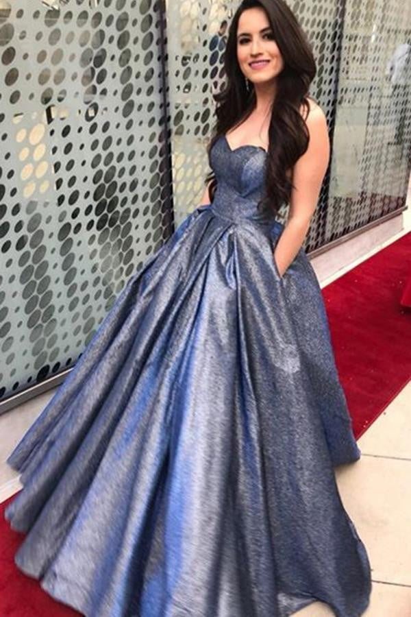 Sweetheart Balll Gowns Sleeveless Floor Length Prom Dresses with Pocket P914