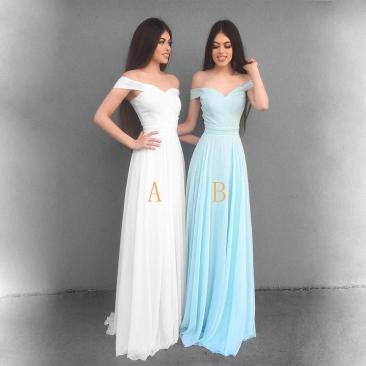 Sexy Sweetheart Off the shoulder A Line Prom Dresses,Bule Chiffon Floor length Maxi Bridesmaid Dresses