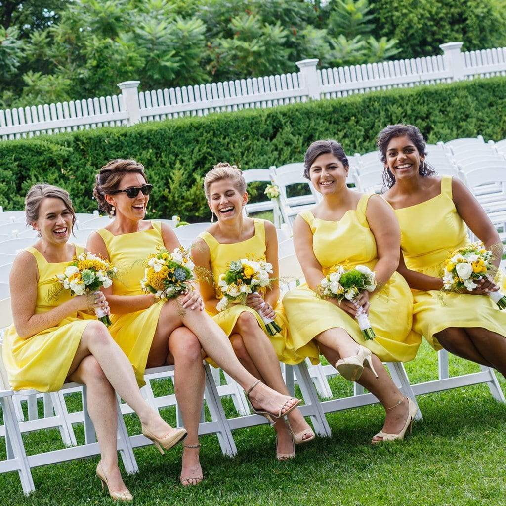 Yellow Sleeveless A Line Knee-Length Satin Bridesmaid Dresses