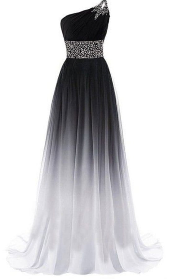 Simple One Shoulder Chiffon Prom Dresses with Beading P965