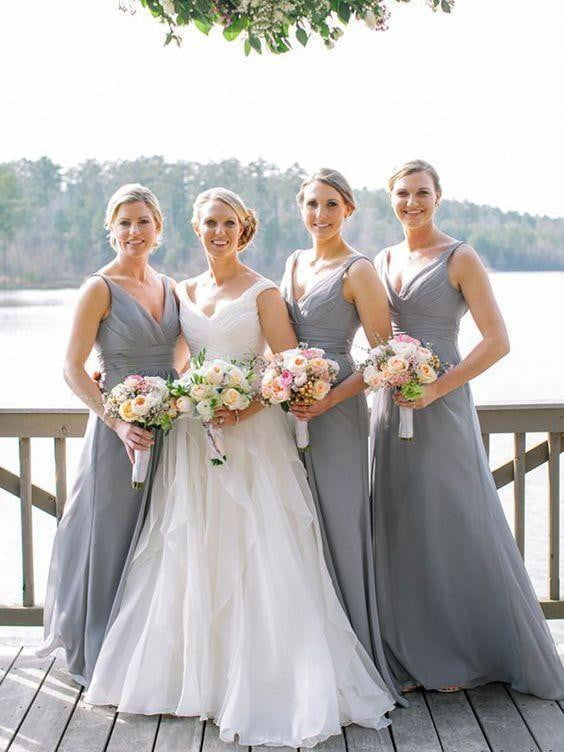Simple Grey V Neck Sleeveless Empire Chiffon A Line Bridesmaid Dresses