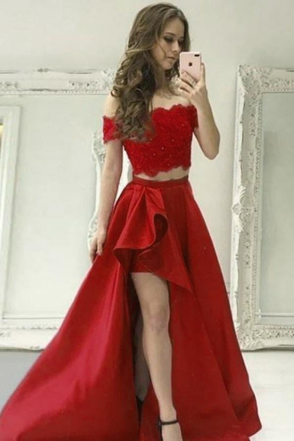 Two Piece High Low Off Shoulder Satin Lace Prom Dresses Evening Dress P956