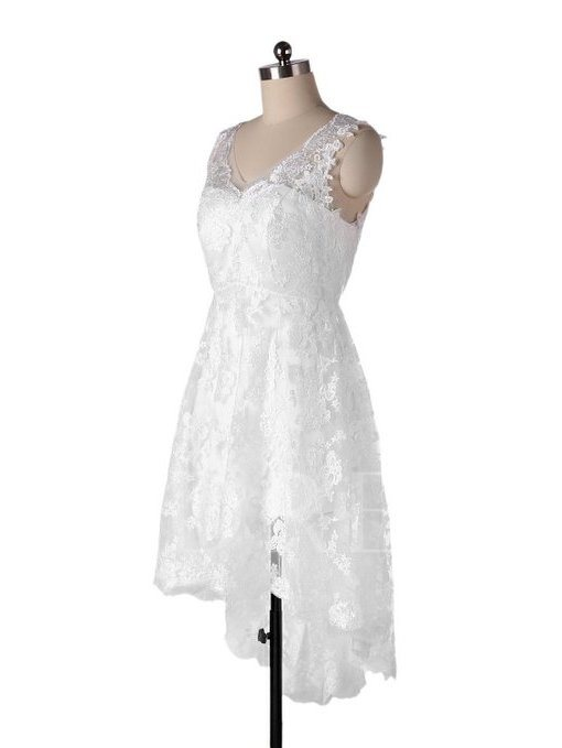 New Arrival Beach Wedding Dress V Neck Lace Short Bride Dress  Real Photos Ivory High Low Wedding Gowns