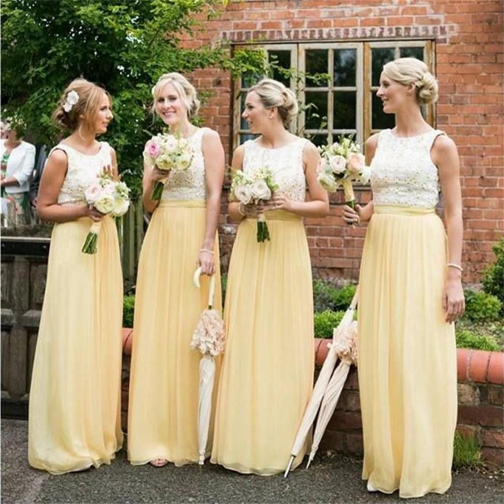 Yellow Lace Scoop Neck Sleeveless A Line Chiffon Bridesmaid Dresses