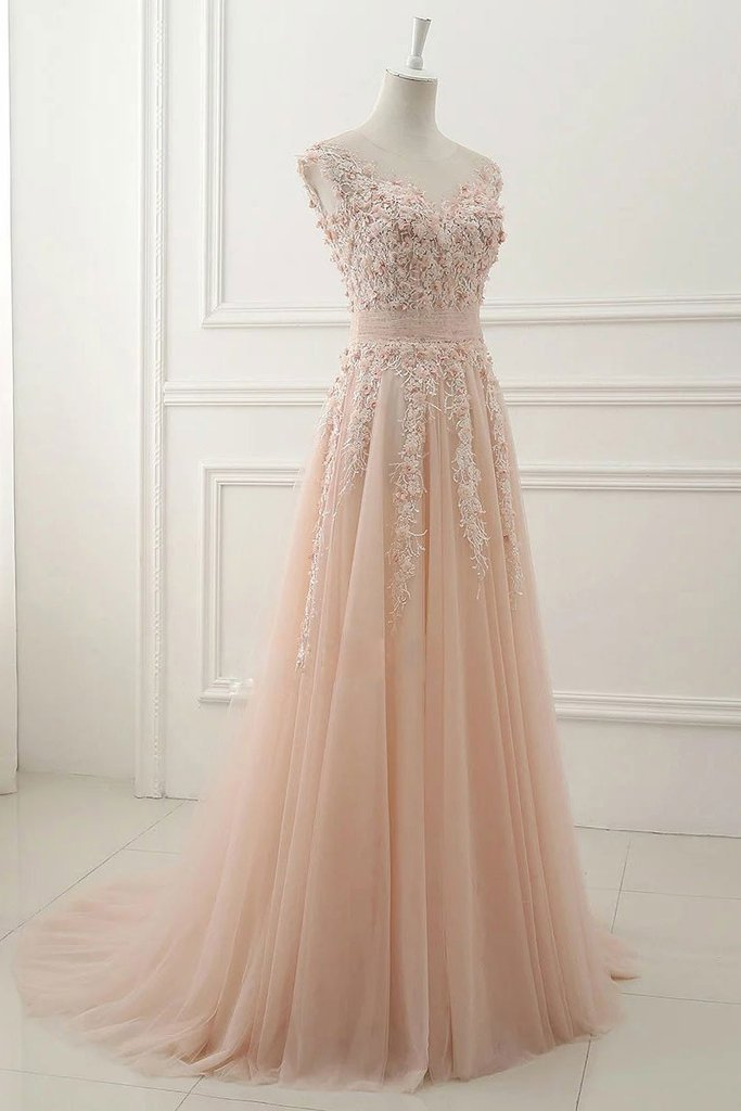Elegant tulle  lace Applique evening dress pink round neck lace applique long A line prom graduation dress
