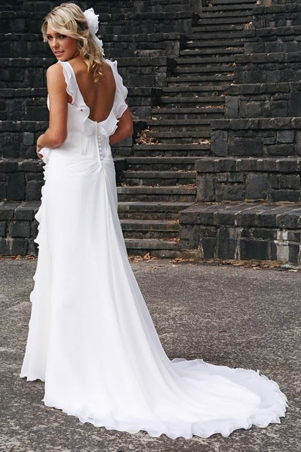 White A Line Court Train Sleeveless Mid Back Wedding Gown,Beach Wedding Dress W154