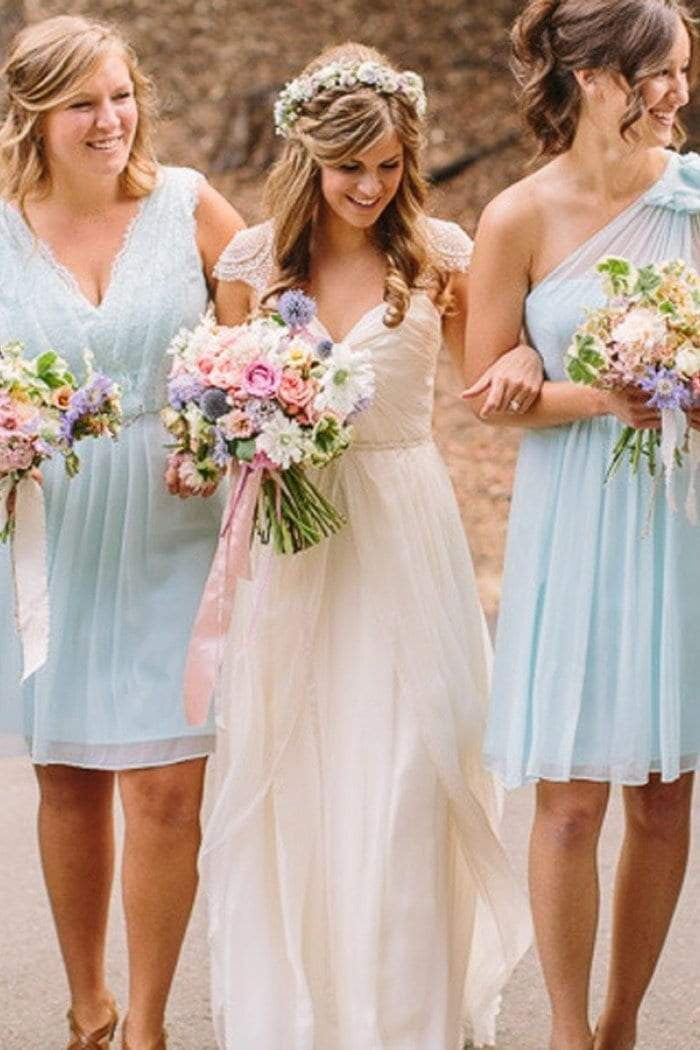 Simple Blue Sleeveless A Line Short Ruffles Chiffon Bridesmaid Dresses