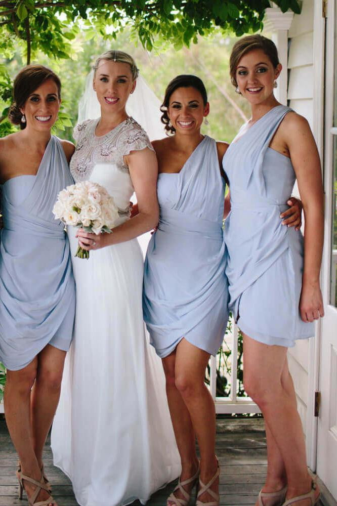 Sky Blue One Shoulder Sleeveless Chiffon Short Bridesmaid Dresses