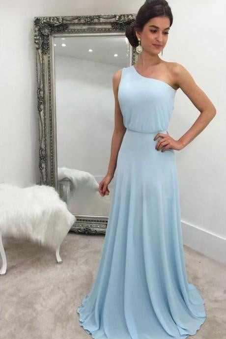 Simple Blue One Shoulder Sleeveless Chiffon Bridesmaid Dresses