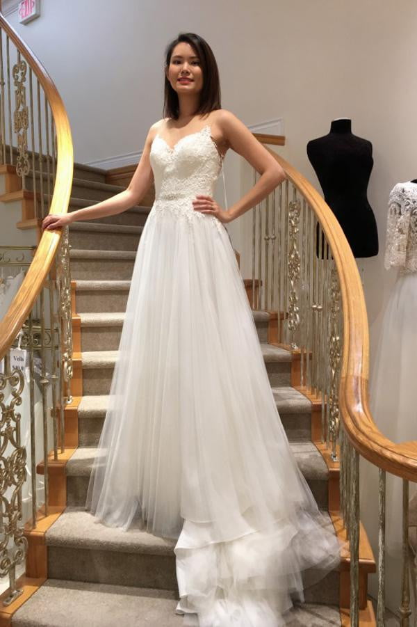 White A Line Brush Train Sleeveless Layers Tulle Appliques Wedding Dress,Beach Wedding Dress W224