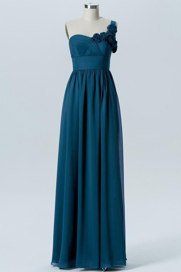 Winter Teal A Line Floor Length Sweetheart One Shoulder Mid Back Bridesmaid Dresses B186