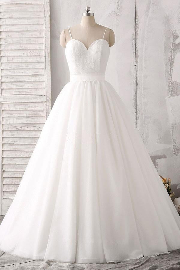White A Line Floor Length Sweetheart Sleeveless Layers Wedding Dress,Wedding Gowns W288