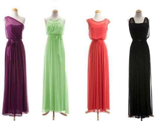 Simple Empire Sleeveless Long Bridesmaid Dresses A Line Prom Dresses