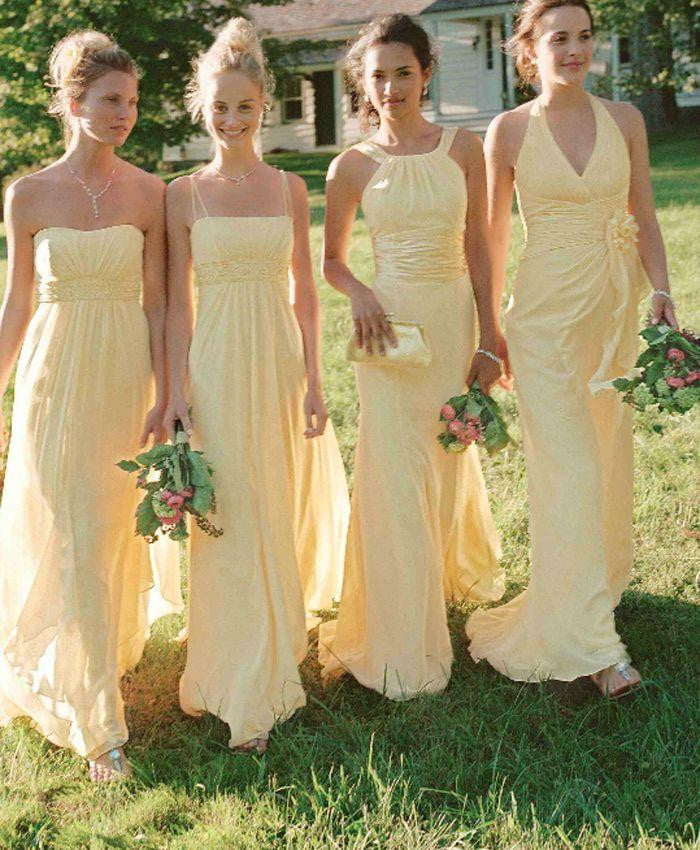 Yellow Sleeveless A Line Long Bridesmaid Dresses Chiffon Prom Dresses With Ruffles