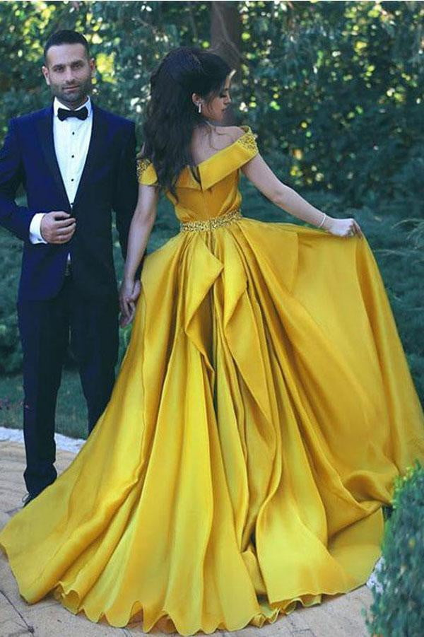 Yellow A Line Court Train Off Shoulder Ruffles Long Prom Dress,Party Dress P230