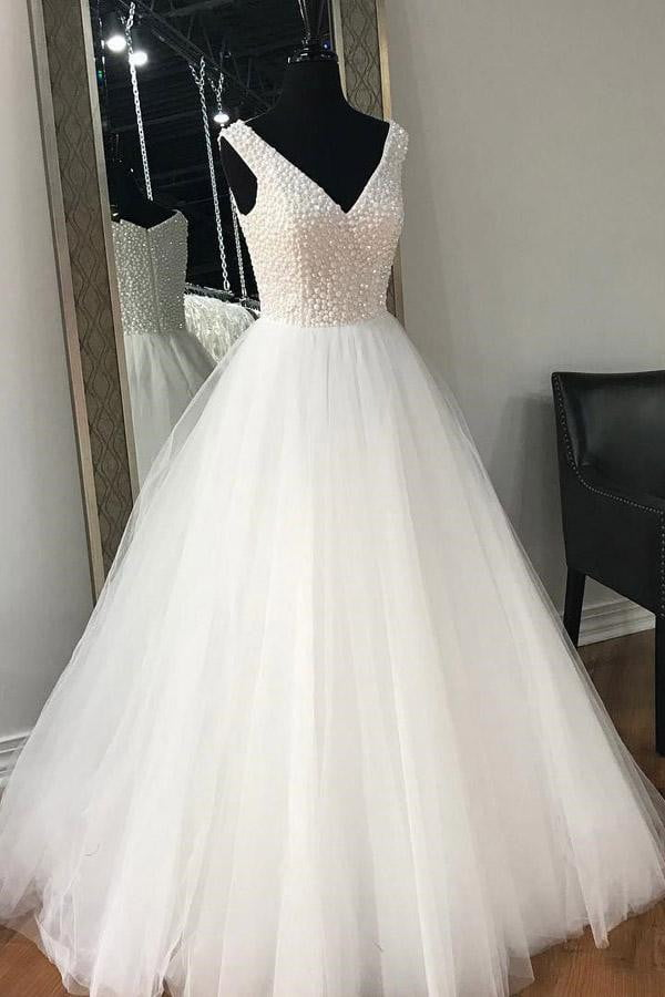 White A Line Floor Length V Neck Sleeveless Layers Wedding Dress,Perfect Wedding Gowns W278