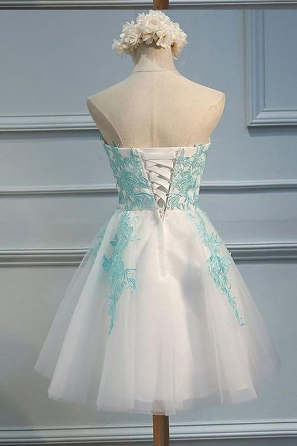 White Sweetheart Strapless Homecoming Dresses,Layers Tulle Appliques Short Prom Dress H162