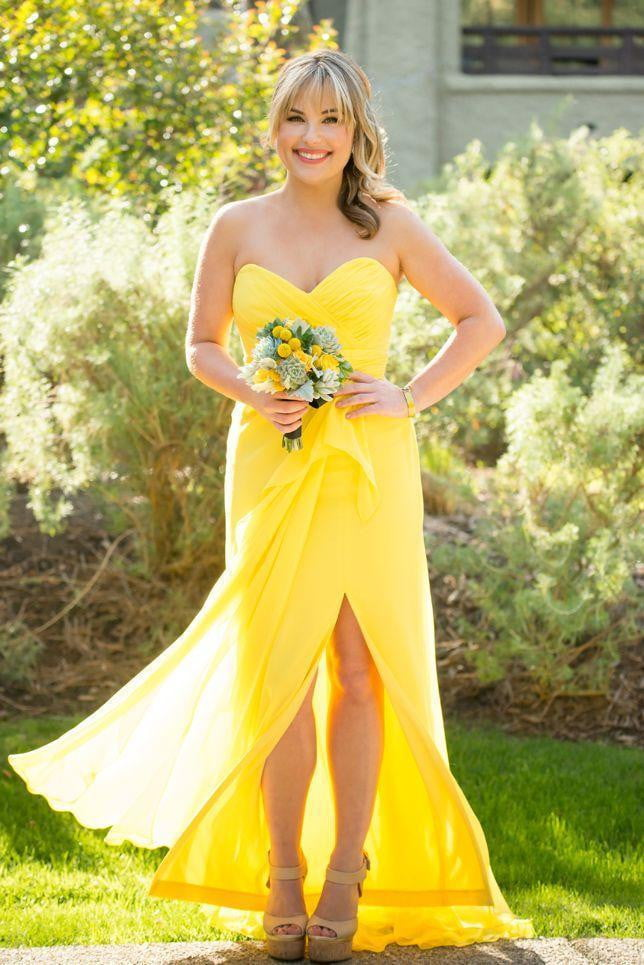 Yellow Sweetheart Split Bridesmaid Dresses Sleeveless Best Prom Dresses